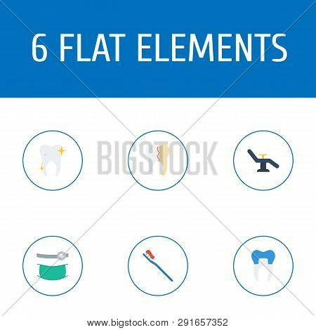 Set Of Dental Icons Flat Style Symbols With Dentist Chair, Reconstruction, Orthodontist And Other Ic