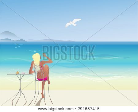 Girl Beach Cafe On Vector Photo Free Trial Bigstock