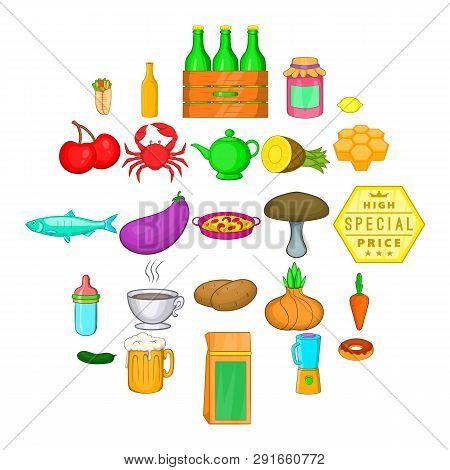 Eat Up Icons Set. Cartoon Set Of 25 Eat Up Icons For Web Isolated On White Background