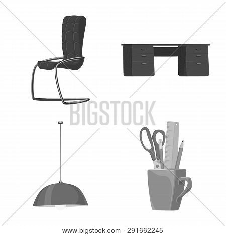 Vector Design Of Furniture And Work Icon. Collection Of Furniture And Home Vector Icon For Stock.