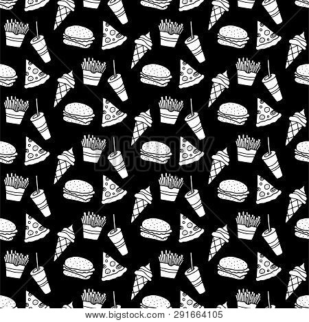 Cute Cartoon Fast Food Background With Hand Drawn Fast Food. Sweet Vector Black And White Fast Food