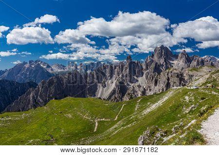 Spectacular View Of Tre Cime De Lavaredo Loop Trail In Dolomites. Italy