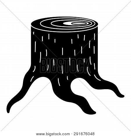 Fresh Sawn Stump Icon. Simple Illustration Of Fresh Sawn Stump Icon For Web Design Isolated On White