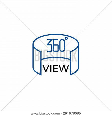 360 View Line Icon Concept. 360 View Flat  Vector Symbol, Sign, Outline Illustration.