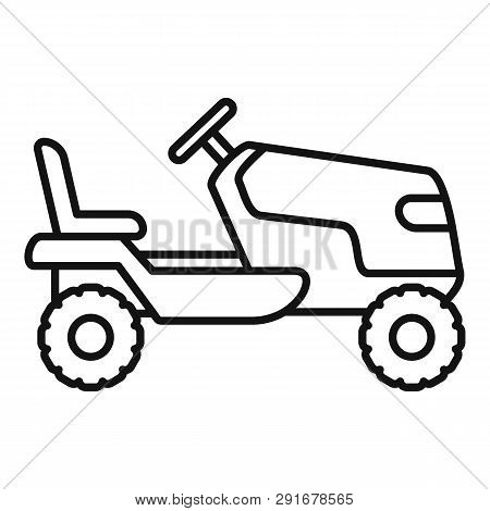 Tractor Grass Cutter Icon. Outline Tractor Grass Cutter Vector Icon For Web Design Isolated On White