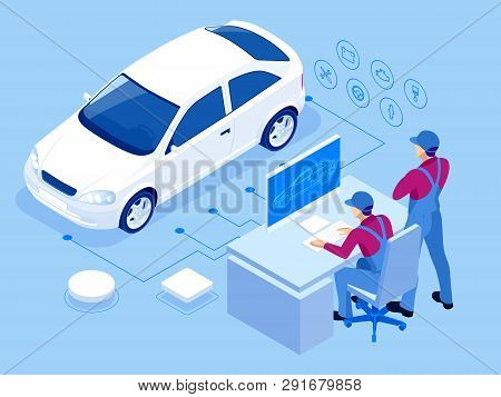 Isometric Auto Repair Service Station. Workers In Car Service Tire Service And Car Repair Vector Ill