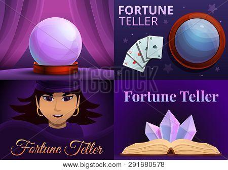 Magic Fortune Teller Banner Set. Cartoon Illustration Of Magic Fortune Teller Vector Banner Set For