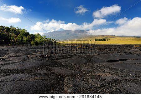 Rough Surface Of Frozen Lava After Mauna Loa Volcano Eruption On Big Island, Hawaii, Usa