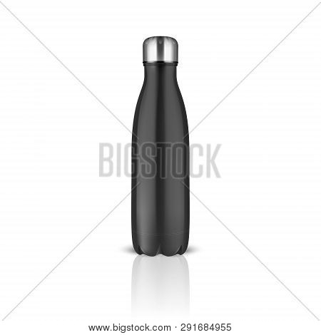 Vector Realistic 3d Black Empty Glossy Metal Reusable Water Bottle With Silver Bung Closeup On White