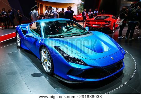Geneva, Switzerland - March 10, 2019: Sportscar Ferrari F8 Tributo Presented At The Annual Geneva In