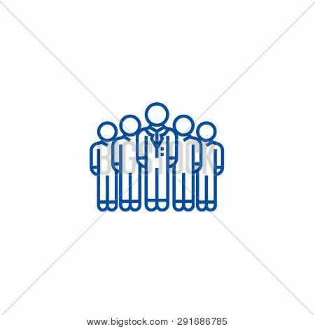 Audience, Marketing Team, Workgroup Line Icon Concept. Audience, Marketing Team, Workgroup Flat  Vec