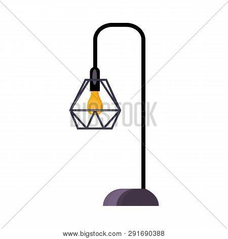 Street Lamp. Bulb, Lattice Lampshade, Lamppost, Lantern. Vector Illustration Can Be Used For Topics