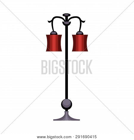 Street Lamp. Metal Pole, Red Lampshades, Lantern. Vector Illustration Can Be Used For Topics Like St