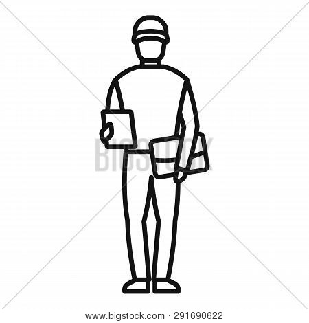 Mailman Icon. Outline Mailman Vector Icon For Web Design Isolated On White Background