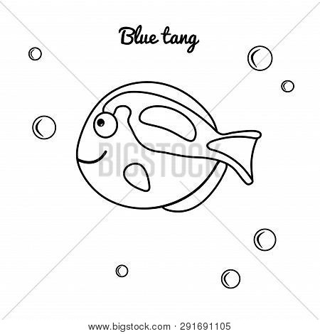 Sea Animal Blue Tan. Vector Marine Character For Coloring Book For Kids. Thick Contour Suitable For
