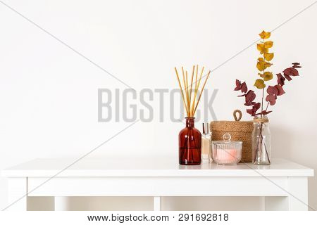 Scandinavian Hygge Style, Home Interior - Aroma Diffuser With Wooden Sticks, Straw Basket, Dried Euc