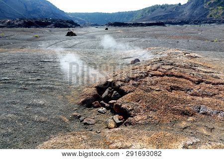 Steaming Vents On The Kilauea Iki Volcano Crater Surface With Crumbling Lava Rocks In Volcanoes Nati
