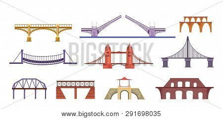 Bridges Illustration Set. Construction, Sight, Landmark. Architecture Concept. Can Be Used For Topic