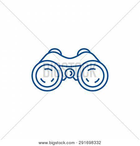 Binoculars, Periscope, Vision Line Icon Concept. Binoculars, Periscope, Vision Flat  Vector Symbol,