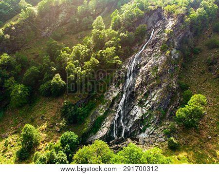 Majestic Water Cascade Of Powerscourt Waterfall, The Highest Waterfall In Ireland.
