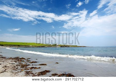 Wide Sandy Beach On Inishmore, The Largest Of The Aran Islands In Galway Bay, Ireland. Famous For It