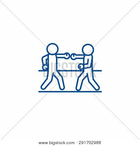 Boxing Sparring Line Icon Concept. Boxing Sparring Flat  Vector Symbol, Sign, Outline Illustration.