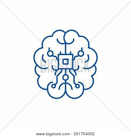 Brain Chipset Line Icon Concept. Brain Chipset Flat  Vector Symbol, Sign, Outline Illustration.