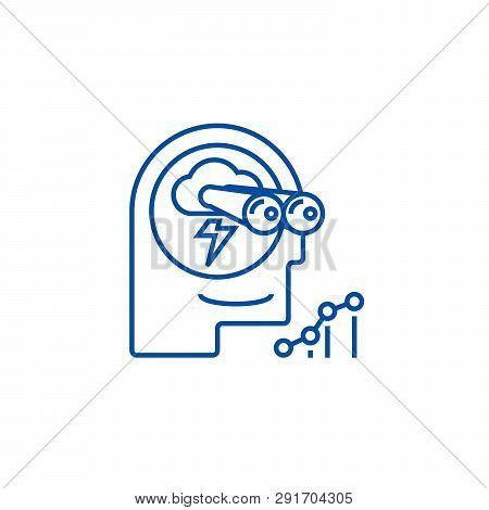 Brainstorm, Forecast, Vision Line Icon Concept. Brainstorm, Forecast, Vision Flat  Vector Symbol, Si