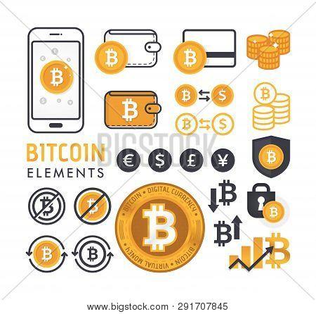 Vector Illustration Of Bit-coin Design Elements