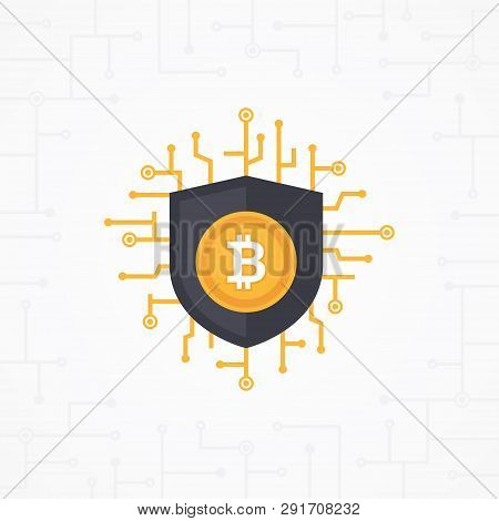 Bit-coin Digital Security With Circuit Board On White Background. Crypt Currency Vector Illustration
