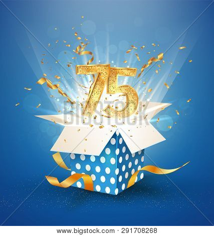75 Th Years Anniversary And Open Gift Box With Explosions Confetti. Isolated Design Element. Templat