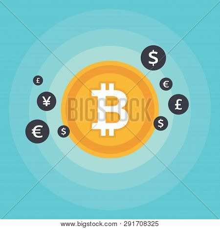 Bit-coin Symbol And Sign Of Other Currencies
