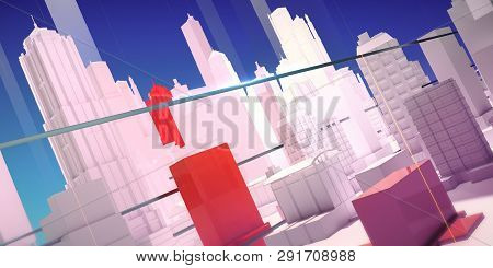 Abstract 3d City Rendering With Lines And Digital Elements Moern Transport Real Estate Concept Backg