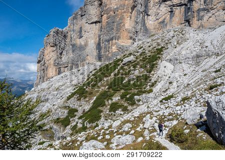 Tourist Path With Beautiful Dolomite Landscape In The Background, Dolomites, Italy