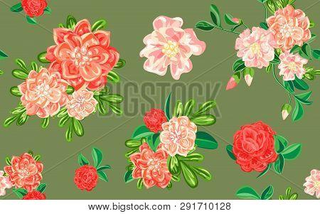 Camellia Flower Pattern. Cartoon Illustration Of Camellia Flower Vector Pattern For Web Design