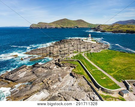 Beautiful View Of Valentia Island Lighthouse At Cromwell Point. Locations Worth Visiting On The Wild
