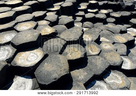 Giants Causeway, An Area Of Hexagonal Basalt Stones, Created By Ancient Volcanic Fissure Eruption, C