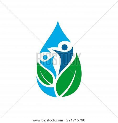 Organic Logo. Leaf People In Water Logo. Natural Products Logo. Cosmetics Icon. Spa Logo. Beauty Sal