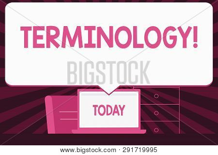 Text sign showing Terminology. Conceptual photo Collection of terms used by different profession study industry Blank Huge Speech Bubble Pointing to White Laptop Screen in Workspace Idea. poster