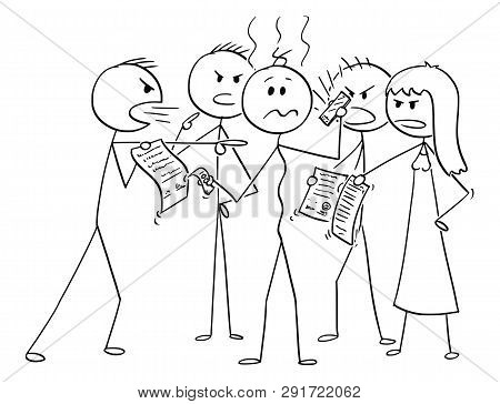 Cartoon Stick Figure Drawing Conceptual Illustration Of Depressed Man In Debts Surrounded By Group O