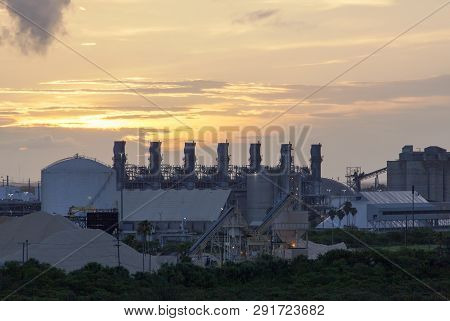 The industrial view and the picturesque sky before sunrise in Tampa city (Florida). poster