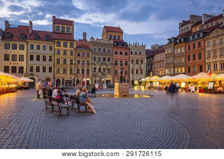 Warsaw, Poland - September 5, 2018: Architecture of the old town in Warsaw city at dusk, Poland. Warsaw is the capital and largest city of Poland.