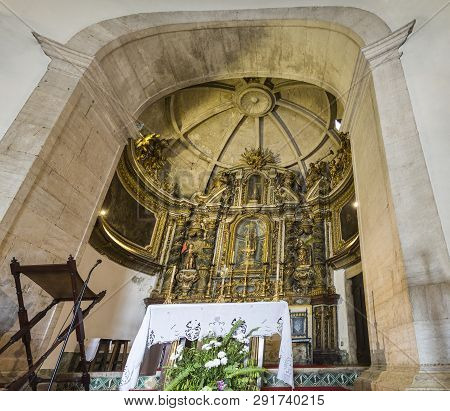 Lisbon - July 5, 2018: View Of The Gilded Altarpiece In The Main Chapel Of The Chapel Of Saint Amaro