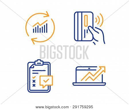 Contactless Payment, Checklist And Update Data Icons Simple Set. Sales Diagram Sign. Bank Money, Sur