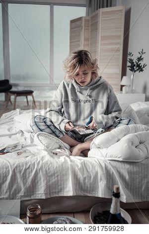 Woman Feeling Sentimental Spending Morning Without Boyfriend