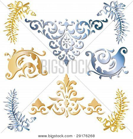 Gold And Blue Medieval Ornaments
