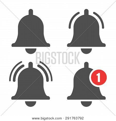 Message Bell Icon. Doorbell Icons For Apps Like Youtube, Alert Ringing Or Subscriber Alarm Symbol, C