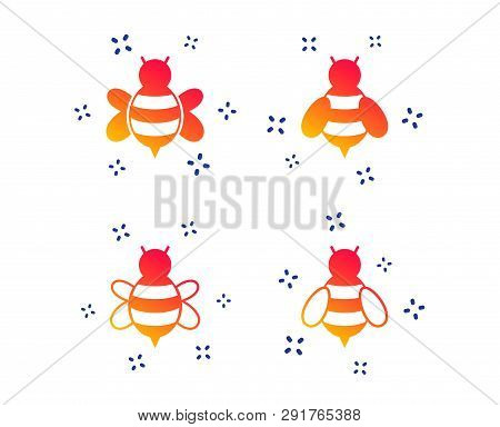 Honey Bees Icons. Bumblebees Symbols. Flying Insects With Sting Signs. Random Dynamic Shapes. Gradie