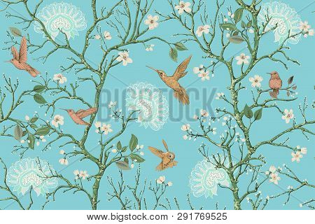 Vector Colorful Pattern With Birds And Flowers. Hummingbirds And Flowers, Retro Style, Floral Backdr