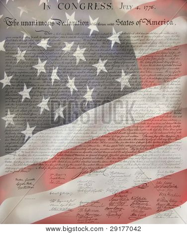 United States Declaration of Independence with USA Flag  as background for Clip-Art poster